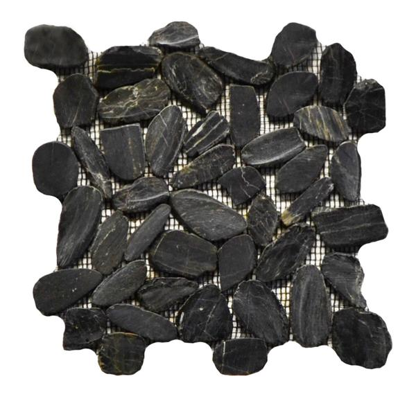 Flat Pebble Stone Mosaic Black 12x12