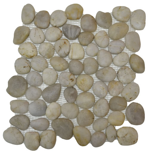 Rounded Pebble Stone Mosaic White 12x12