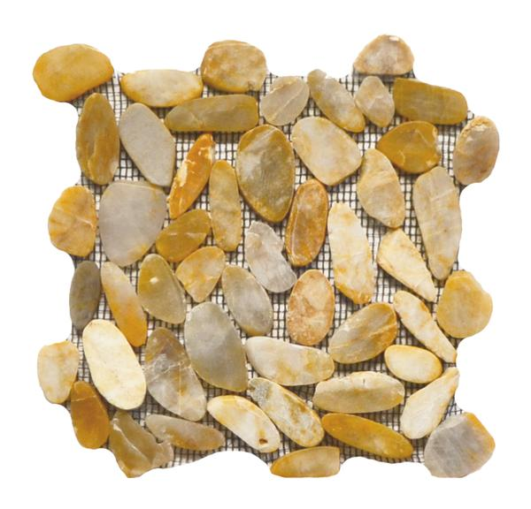 Flat Pebble Stone Mosaic Honey 12x12