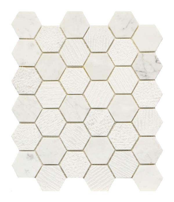 Carrara White 2x2 Hex Mos Textured 10x12