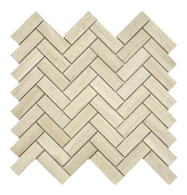 White Wood Herringbone Mos Polishd 12x13